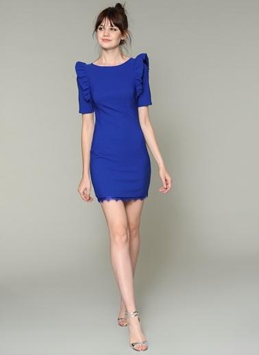 Loves You Kolları Fırfırlı Elbise